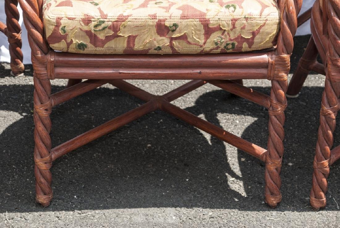 Six Vintage Faux Bamboo Dining / Arm Chairs - 4