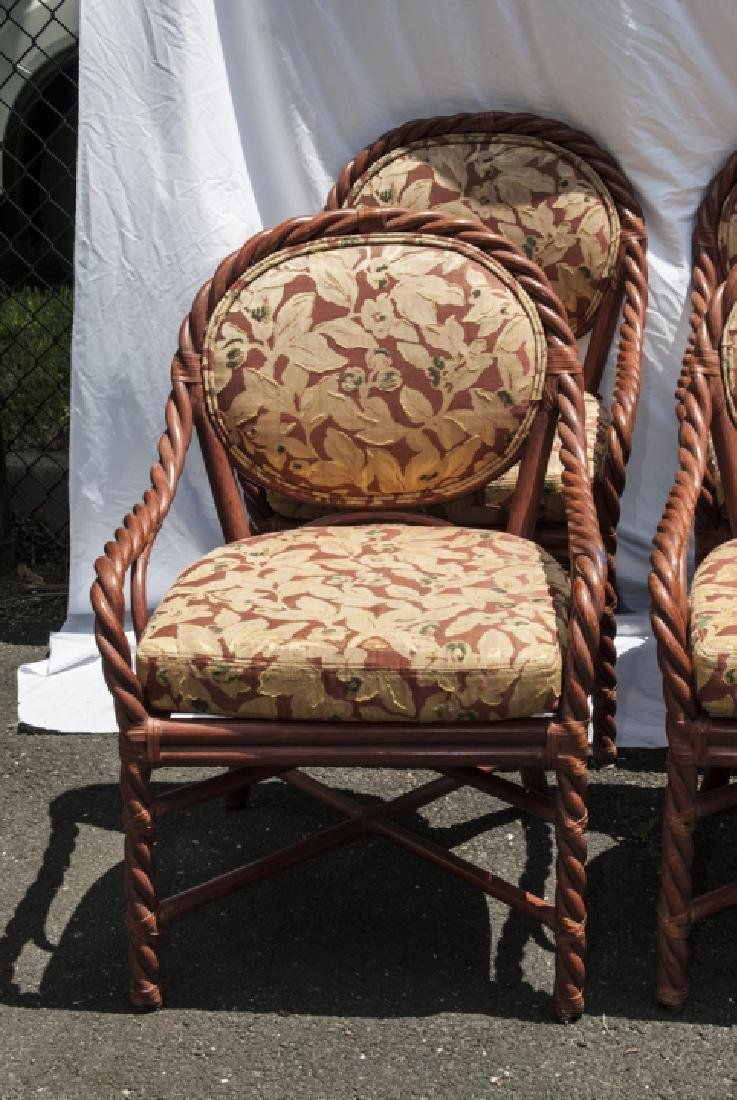 Six Vintage Faux Bamboo Dining / Arm Chairs - 5