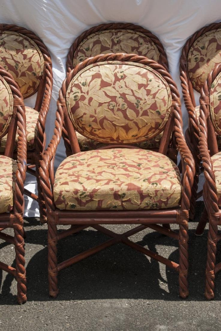 Six Vintage Faux Bamboo Dining / Arm Chairs - 6