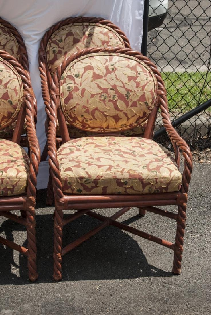 Six Vintage Faux Bamboo Dining / Arm Chairs - 7