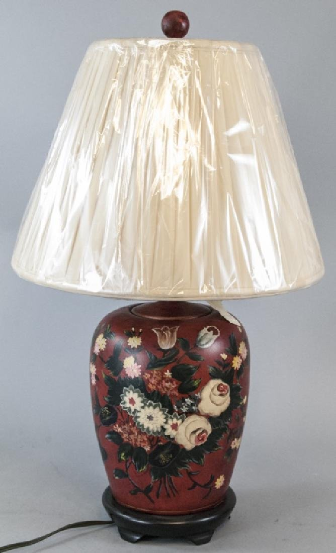Ginger Jar Form Table Lamp W Hand Painted Motif