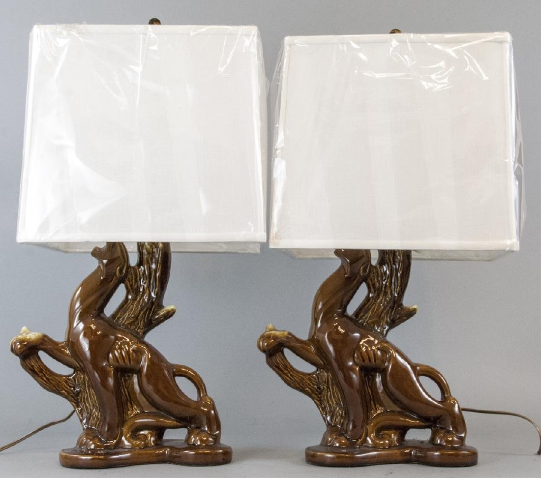 Pair Mid C Modern Ceramic Panther Table Lamps