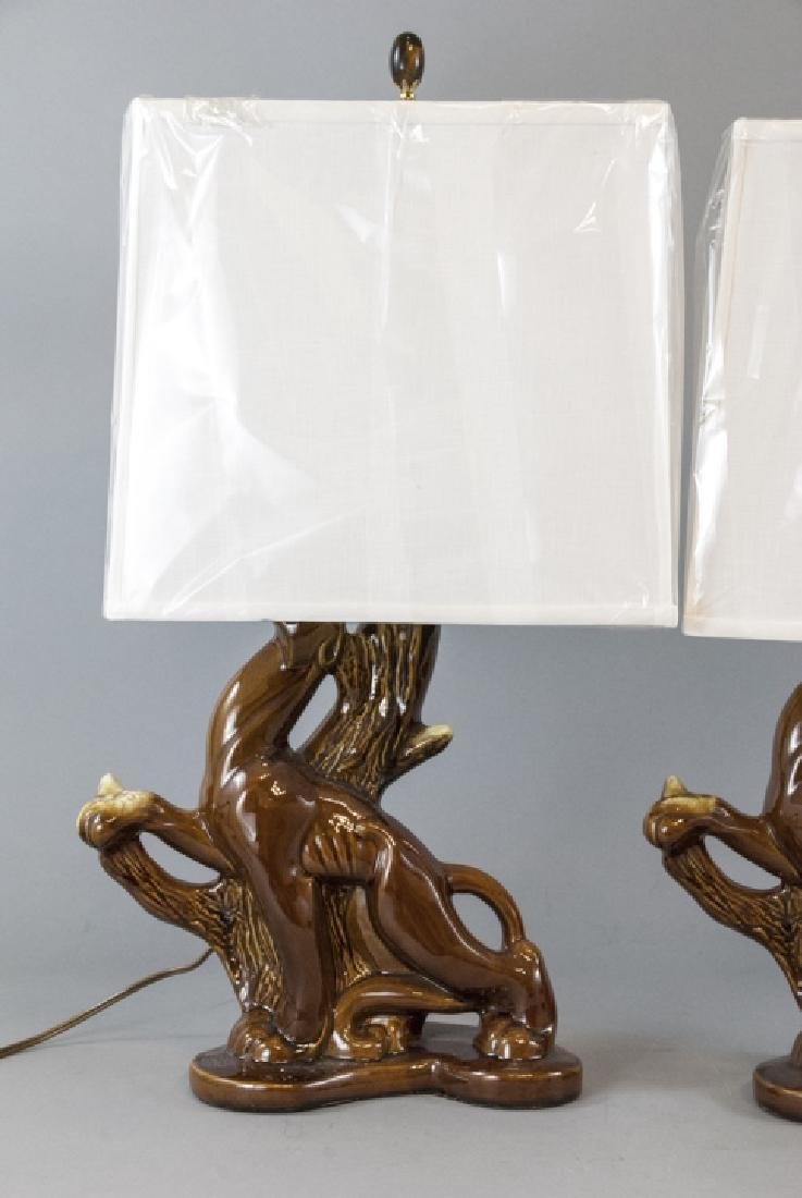 Pair Mid C Modern Ceramic Panther Table Lamps - 4