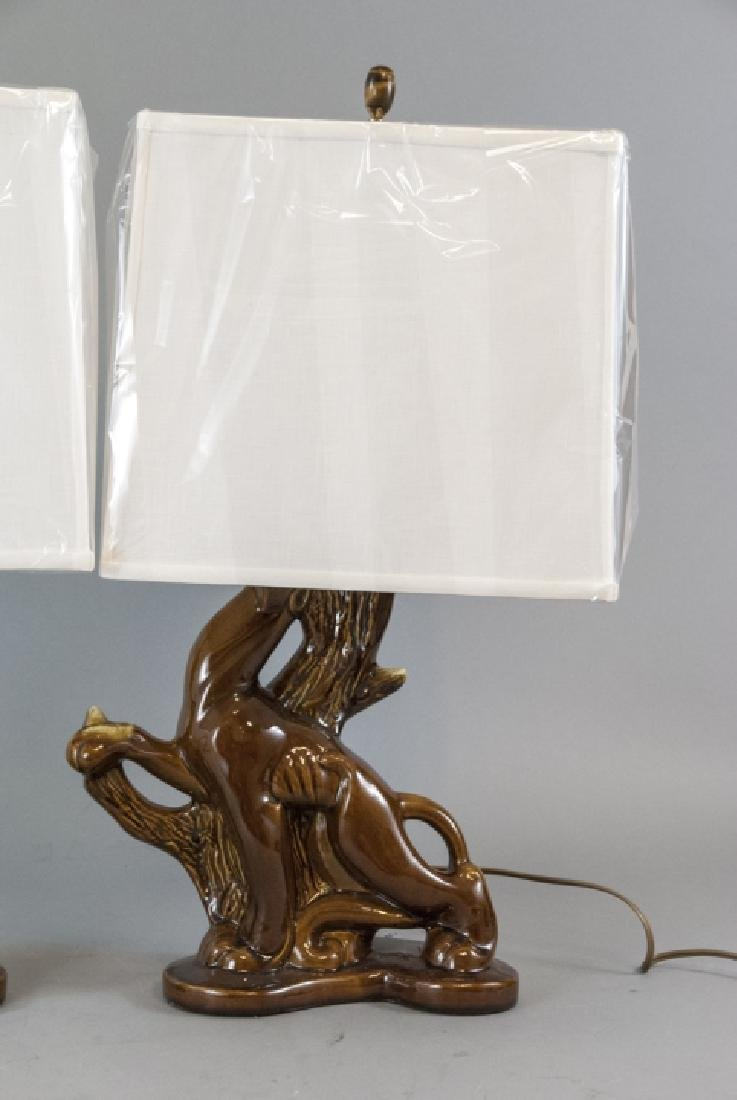 Pair Mid C Modern Ceramic Panther Table Lamps - 5