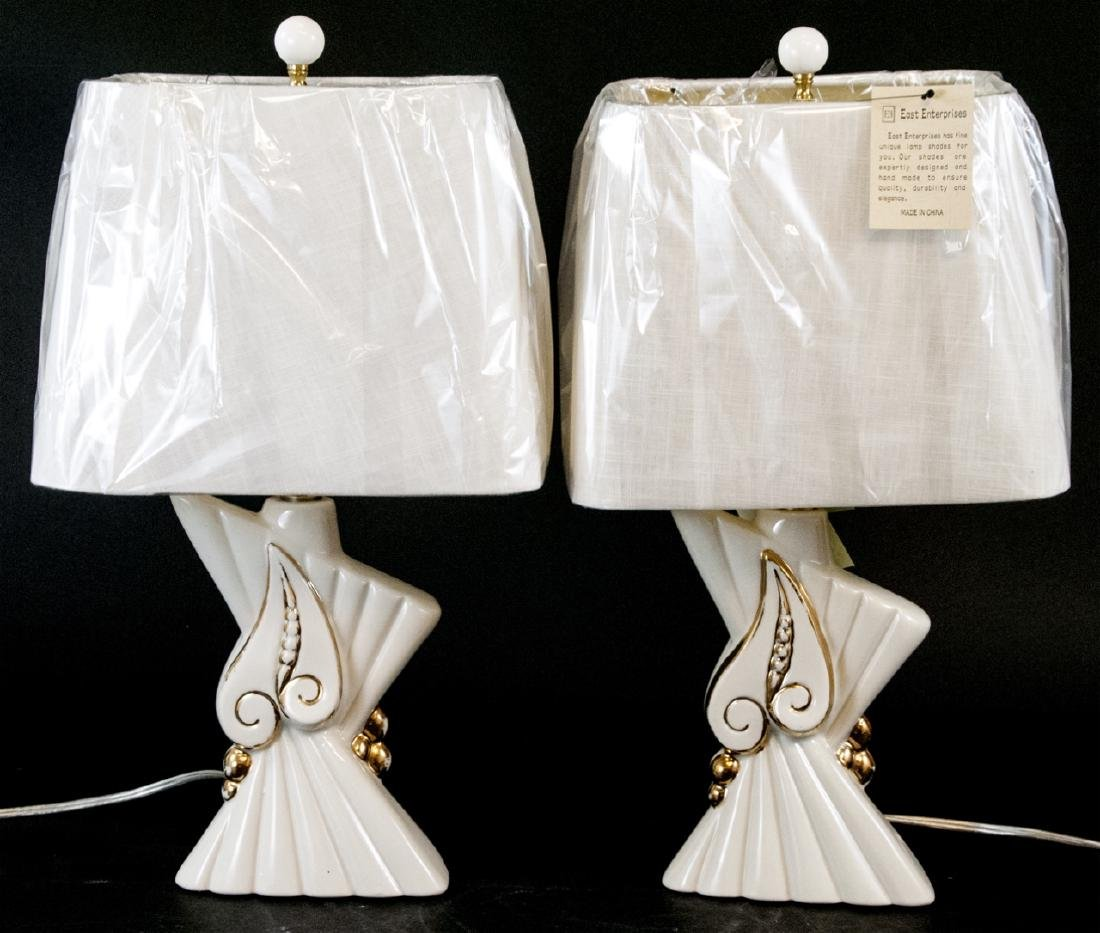 Pair of Mid C Modern Ceramic Table Lamps W Shades