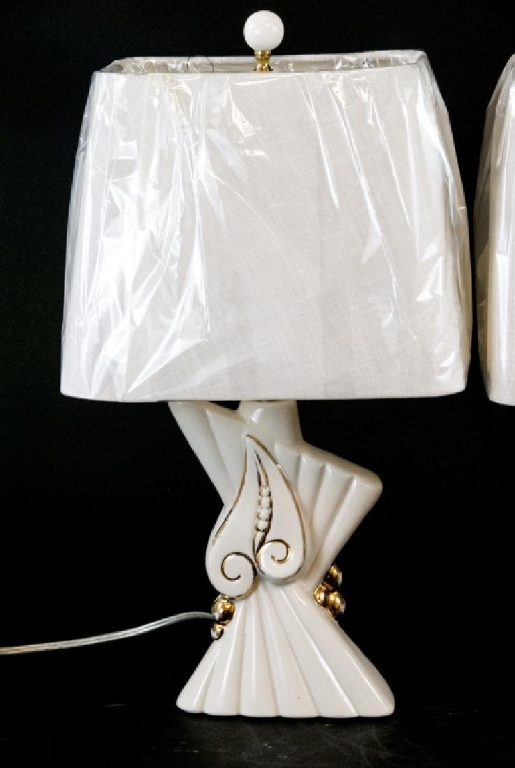 Pair of Mid C Modern Ceramic Table Lamps W Shades - 5