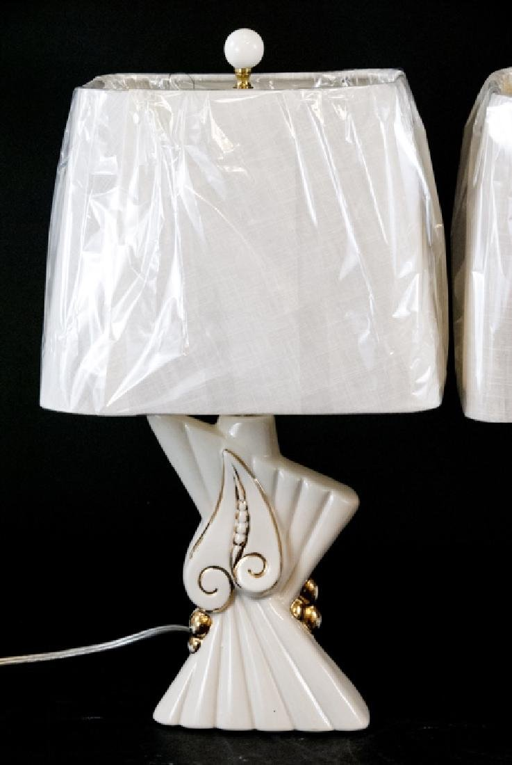 Pair of Mid C Modern Ceramic Table Lamps W Shades - 6