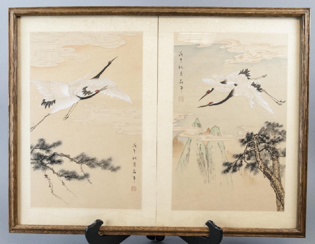 Vtg Chinese Watercolor & Ink Crane Scene Framed