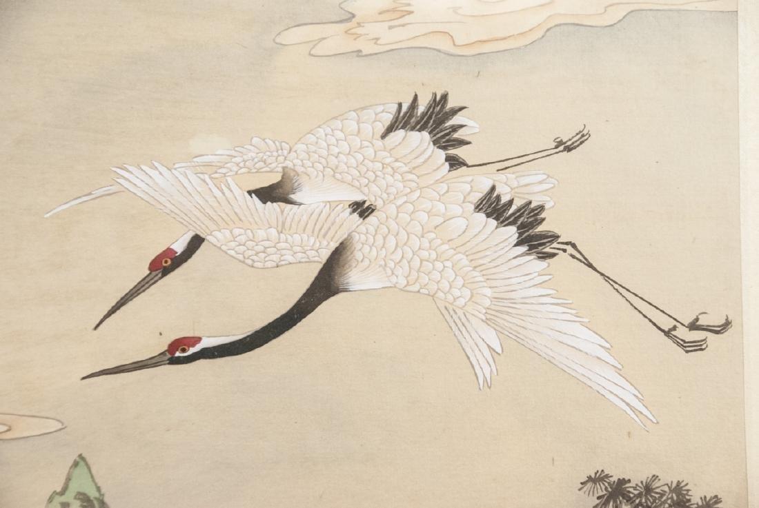 Vtg Chinese Watercolor & Ink Crane Scene Framed - 6