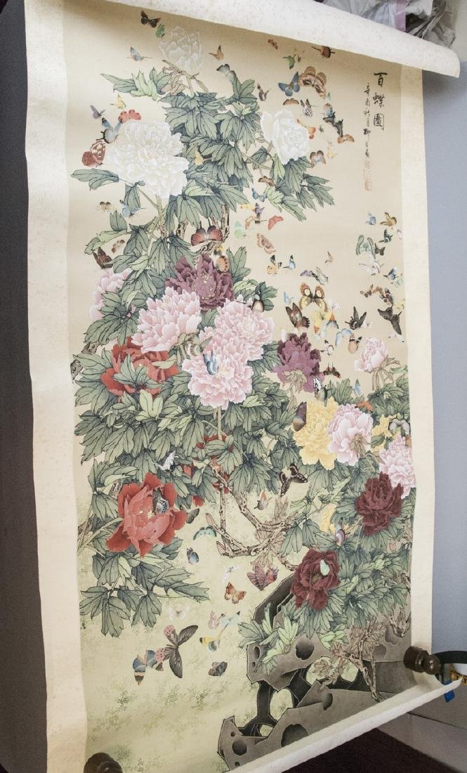 Chinese Watercolor Ink Scroll Painting Butterflies