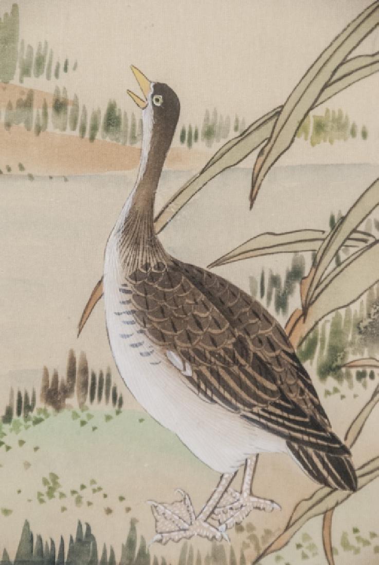 Vtg Chinese Watercolor & Ink Fowl Scene Framed - 8