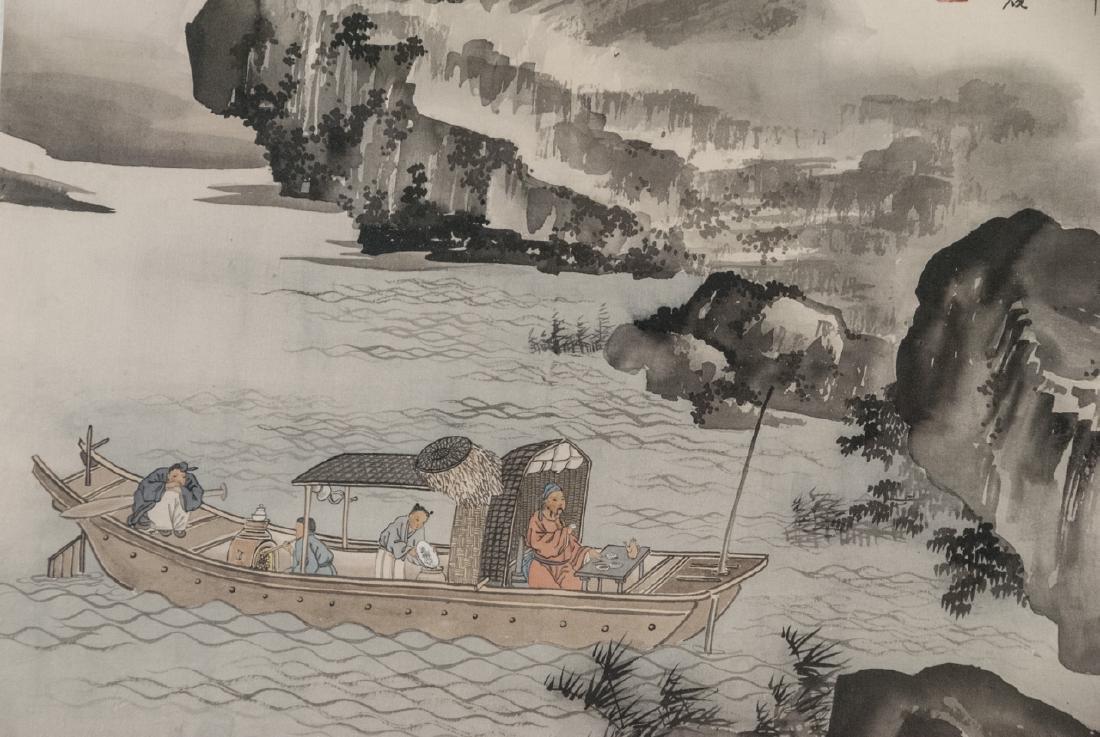 Vtg Chinese Watercolor & Ink River Scene Framed - 2