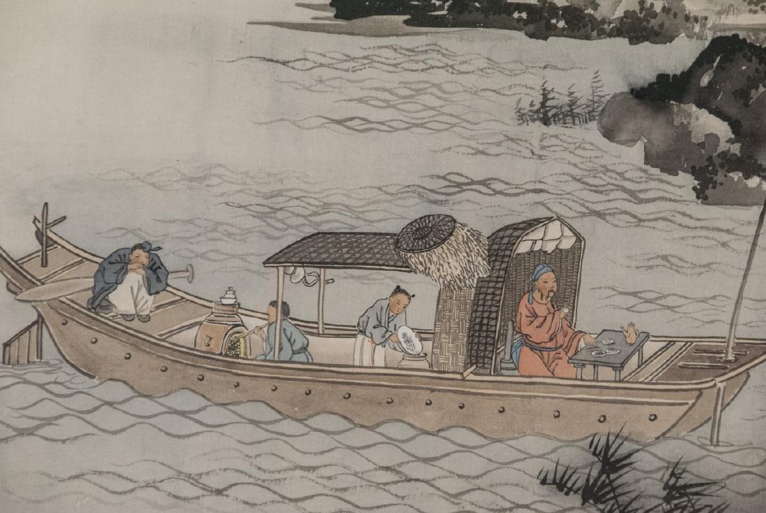 Vtg Chinese Watercolor & Ink River Scene Framed - 3