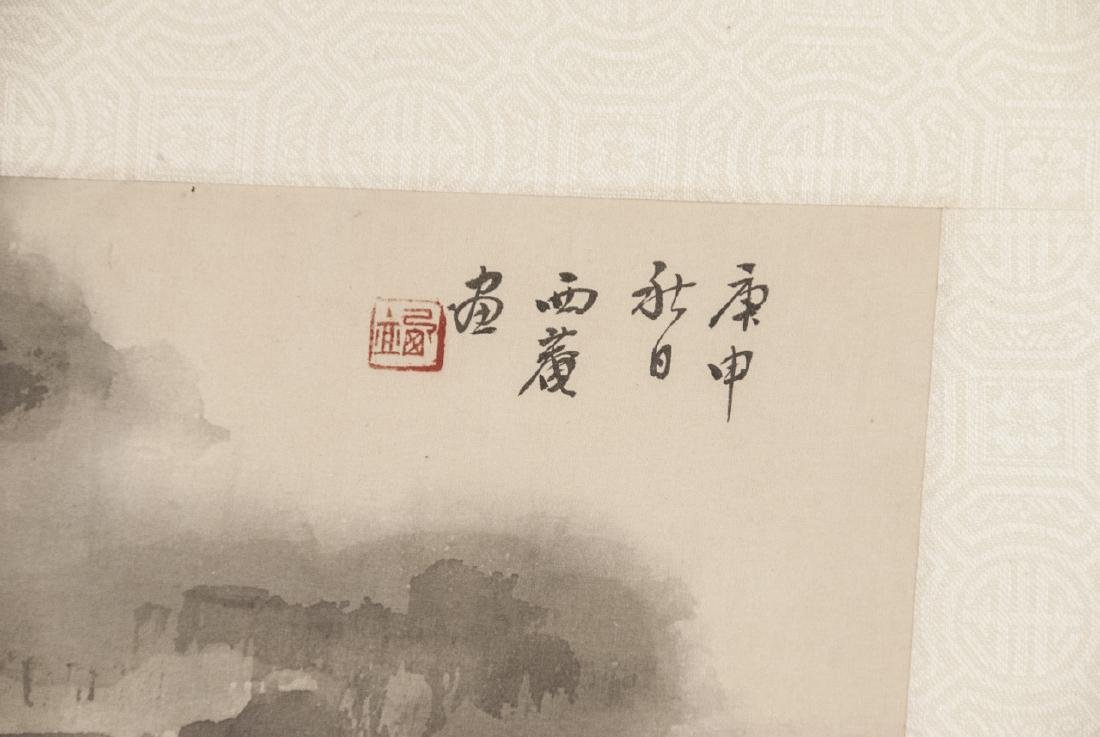 Vtg Chinese Watercolor & Ink River Scene Framed - 4