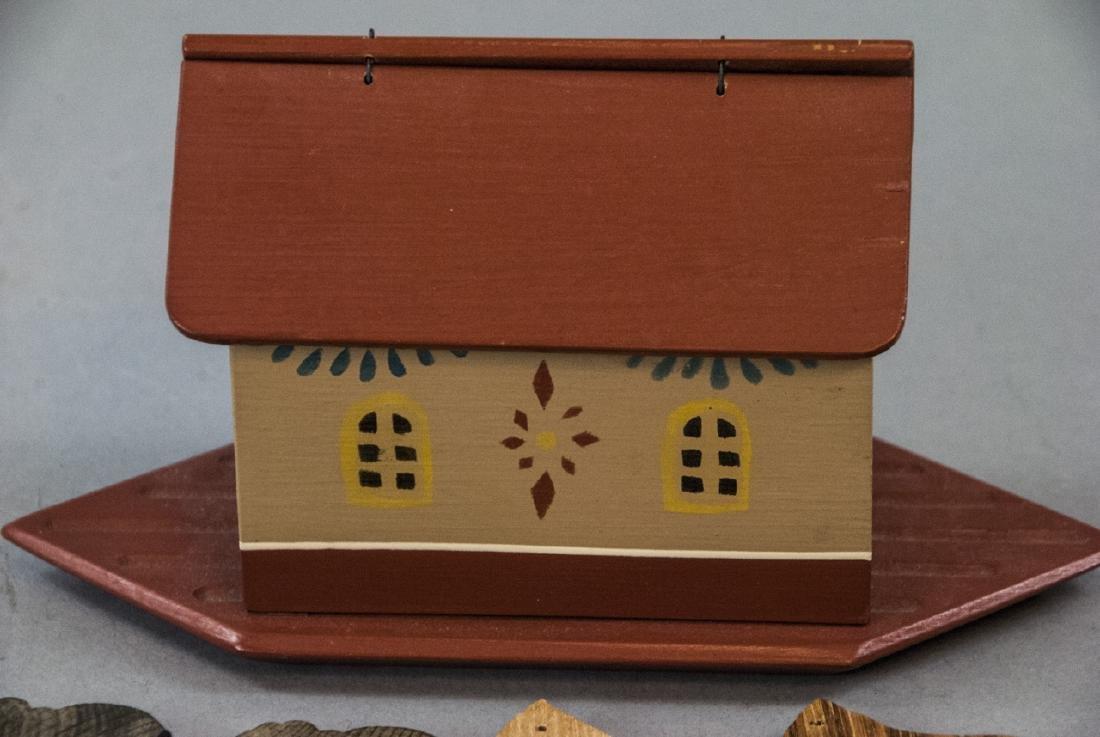 American Folk Art Handmade Noah's Ark w Animals - 6