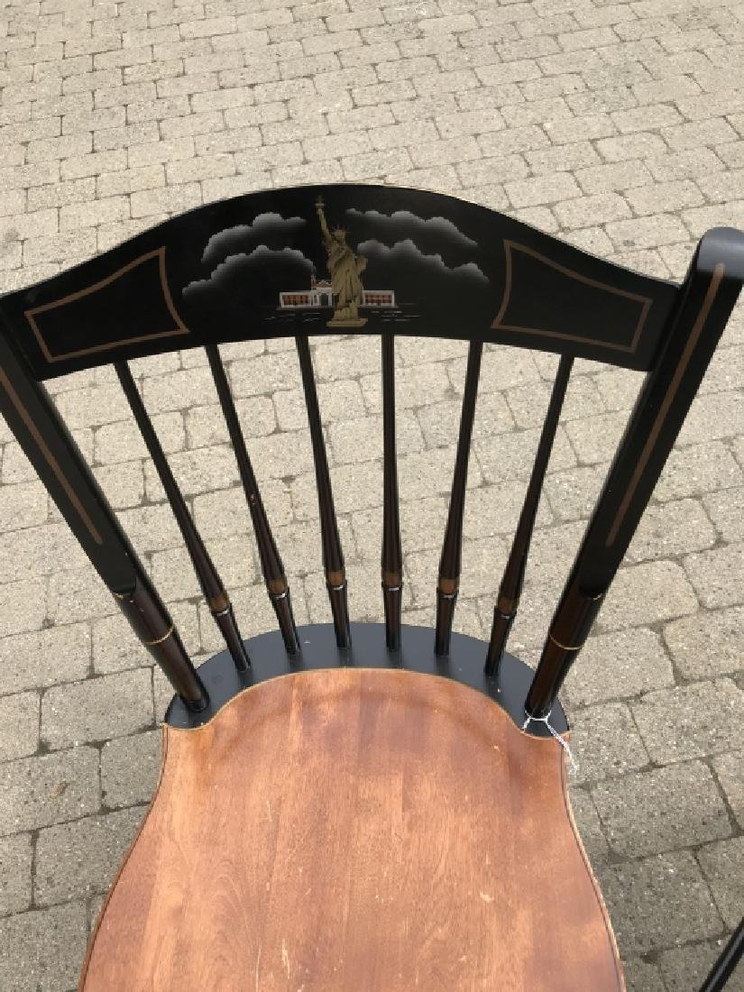 Pair of Hitchcock Chairs w Statue of Liberty Scene - 2