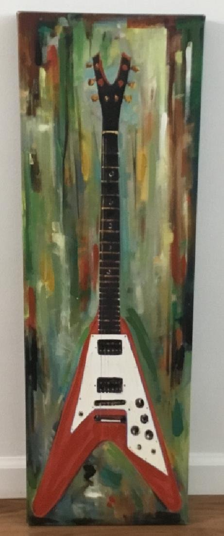Contemporary Electric Guitar Oil Canvas Painting