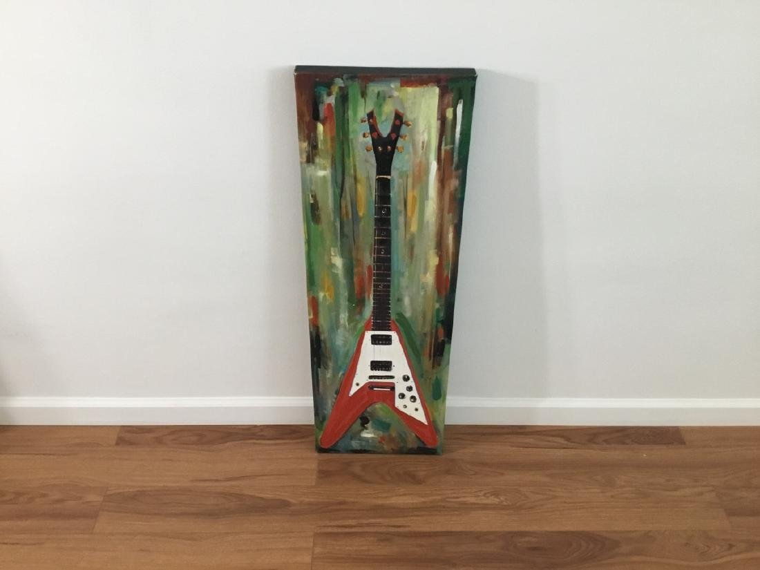 Contemporary Electric Guitar Oil Canvas Painting - 2