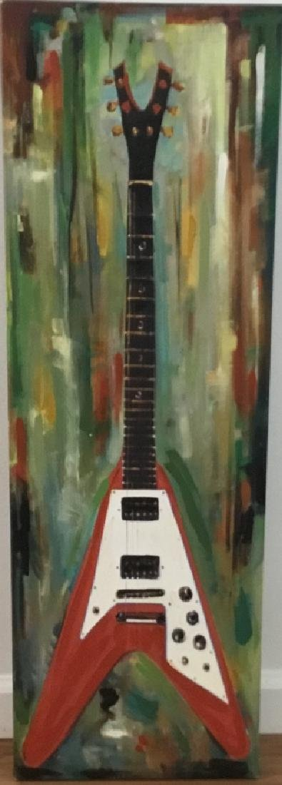 Contemporary Electric Guitar Oil Canvas Painting - 3