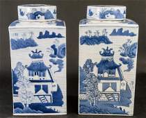 2 Chinese Canton Blue White Porcelain Tea Caddies