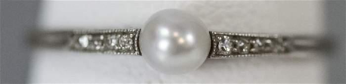 Estate Antique Platinum Diamond & Pearl Ring