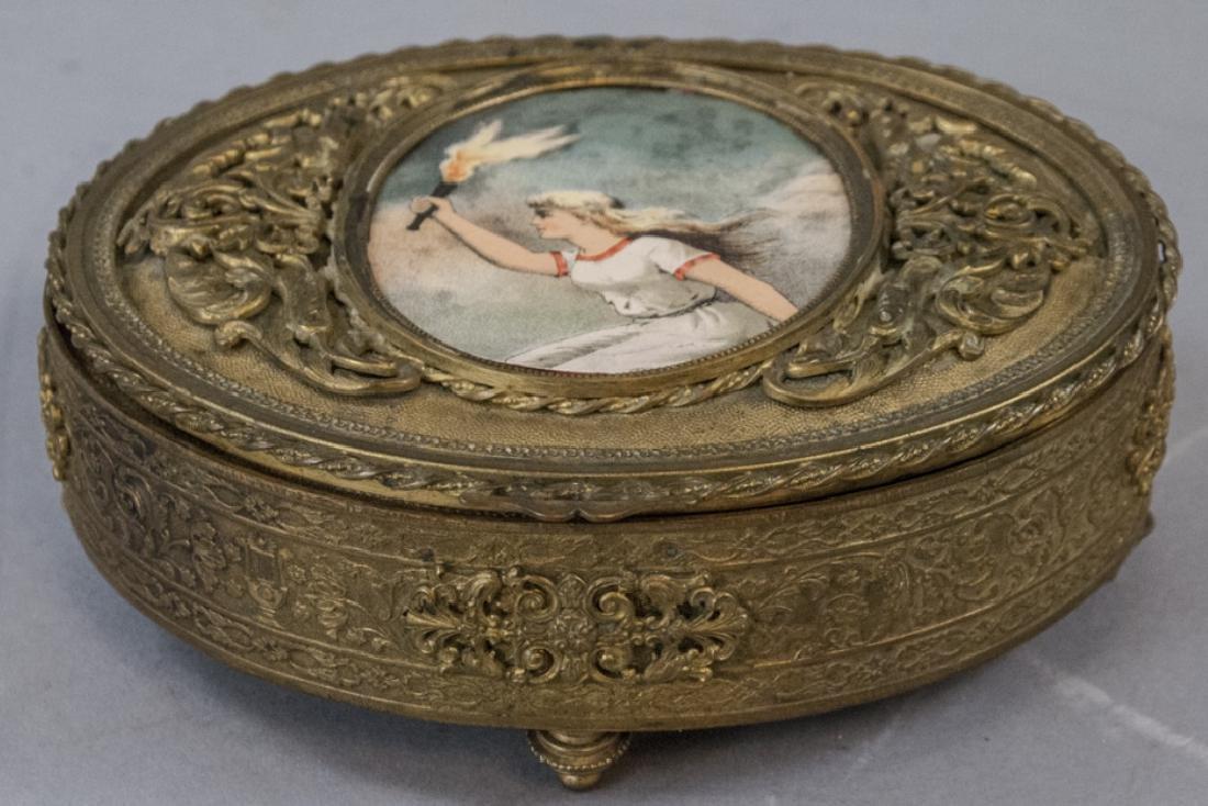 Gold Ormolu Bronze Jewelry Box France Enammel In Short Supply Antiques