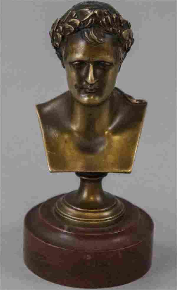 Antique Napoleon Bronze & Rouge Marble Statue