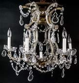Venetian Style Six Arm Chandelier W Crystals