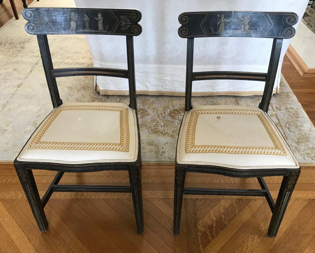 Pair of Antique 19th C Hand Painted Side Chairs
