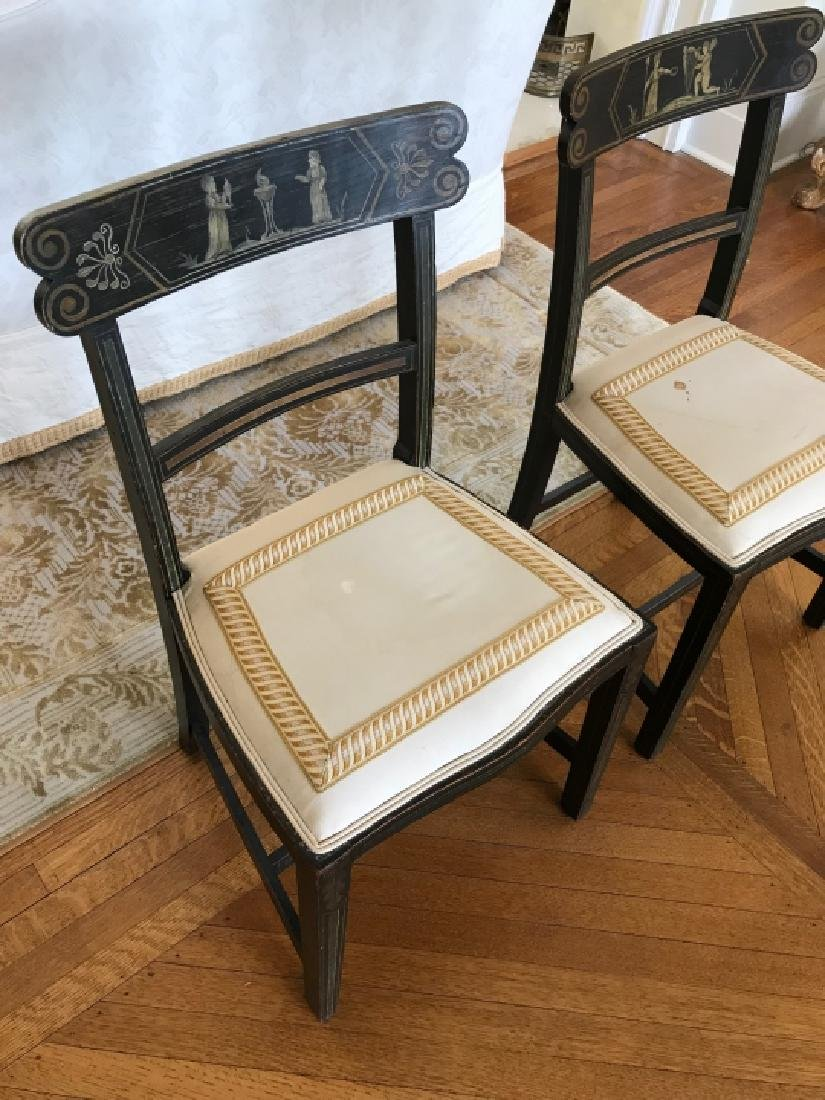 Pair of Antique 19th C Hand Painted Side Chairs - 3