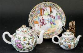 2 Antique 19th C Chinese Rose Medallion Teapots