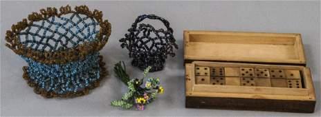 Antique Dollhouse Items - Beadwork & Domino Set