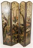 Victorian Continental Hand Painted Folding Screen