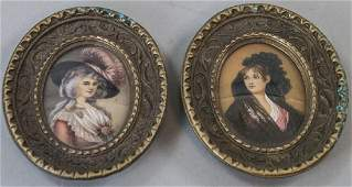 Pair Framed Signed Portrait Miniature Paintings