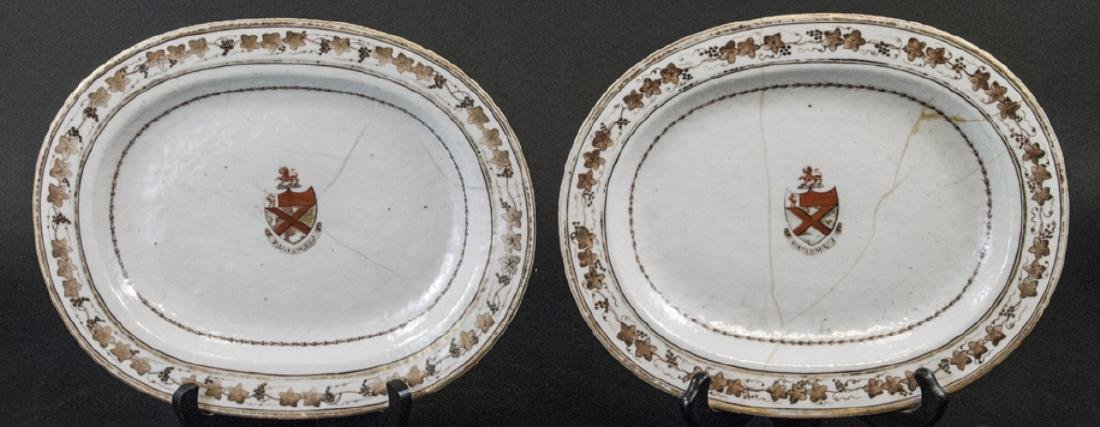 Pair of Antique Chinese Export Armorial Platters