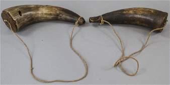 Pair Antique Hand Carved Gun Powder Horns