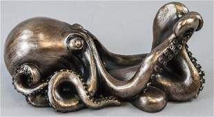 Figural Bronze Tone Octopus Wine Champagne Caddy