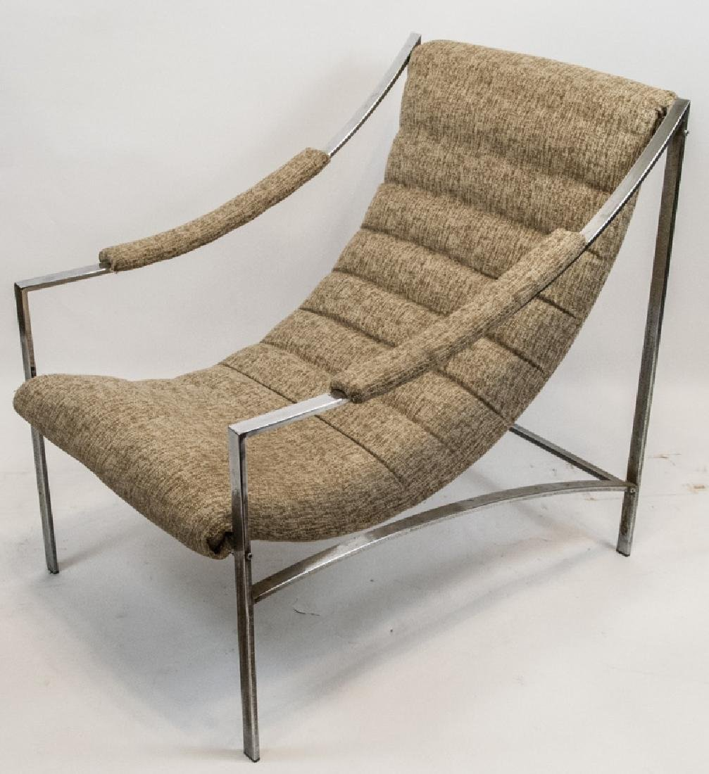 Mid Century Modern Metal & Upholstered Arm Chair