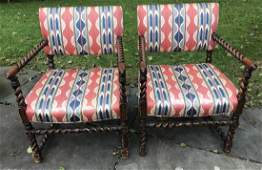 Pair Antique English Style Barley Twist Armchairs