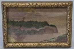 Antique American Folk Art Primitive Oil Painting