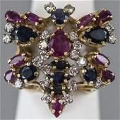 Estate 14kt Gold Ruby & Diamond Butterfly Ring
