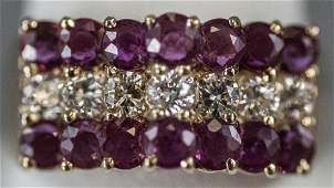 Retro Diamond & Ruby 14kt Yellow Gold Ring