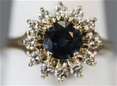 Estate 14kt Gold 15 Ct Sapphire  Diamond Ring