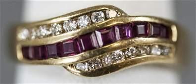 Estate 18kt Yellow Gold Ruby & Diamond Ring