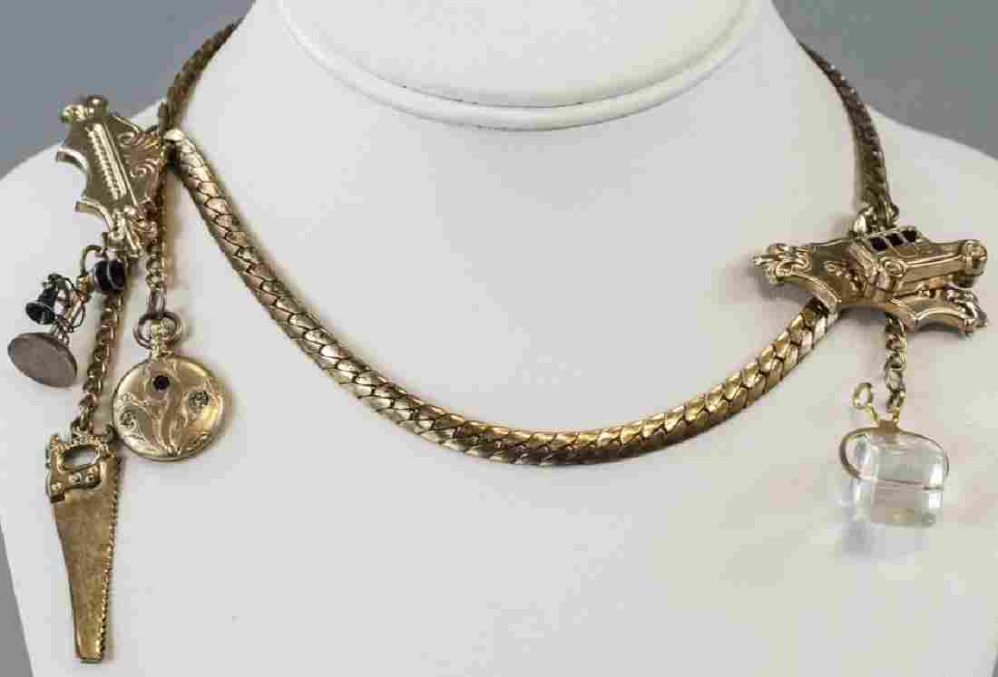 Antique Gilt Metal Chatelaine / Sweater Clip