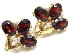 Vintage 14k Gold Garnet  Pearl Earrings