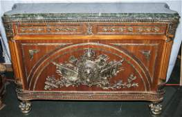 French Empire Style Marquetry Marble Top Buffet