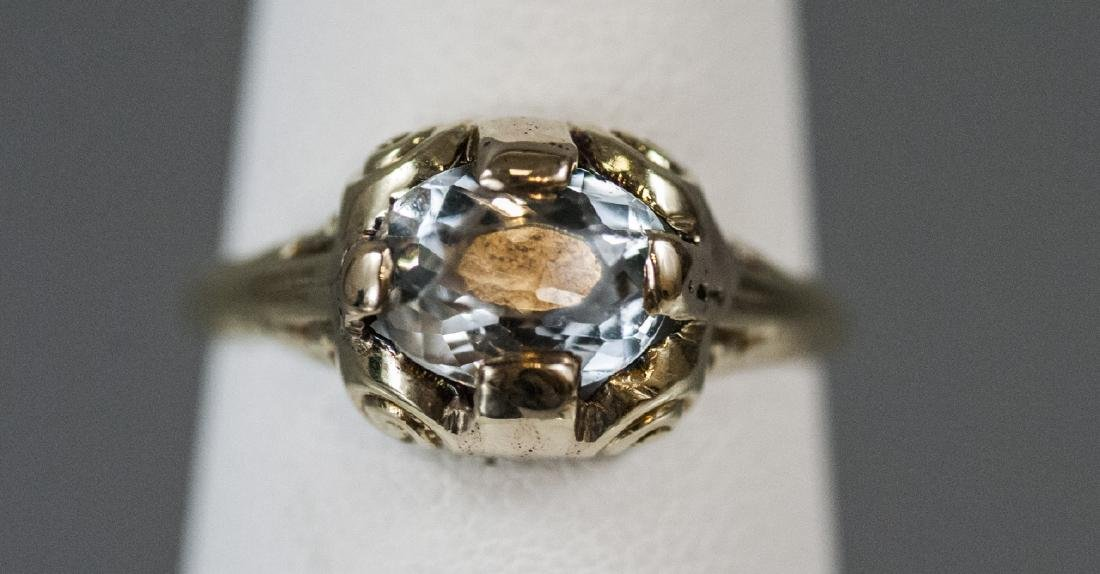 Estate 14kt Yellow Gold & Topaz Solitaire Ring - 4