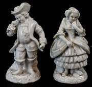 Pair Antique 19th Century Blanc de Chine Figurines