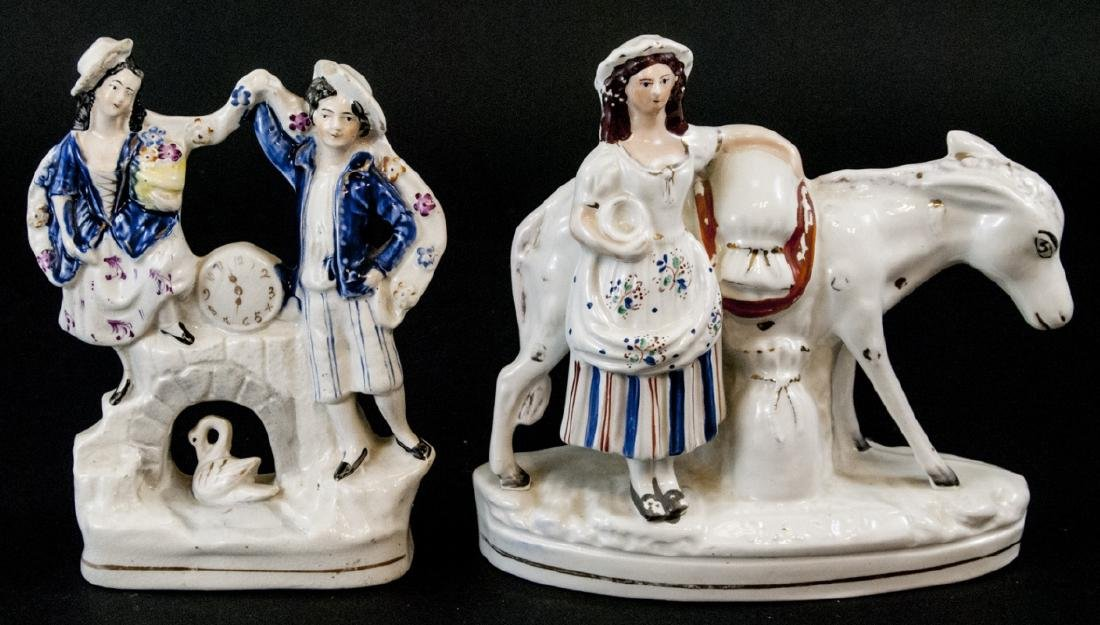 2 Antique 19th C Staffordshire Porcelain Figurines